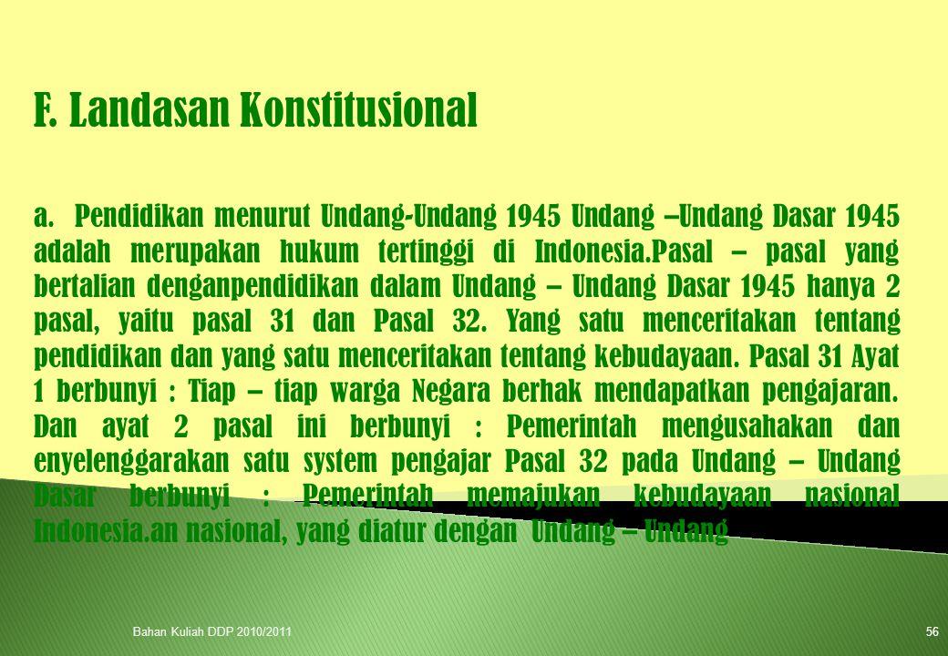 F. Landasan Konstitusional