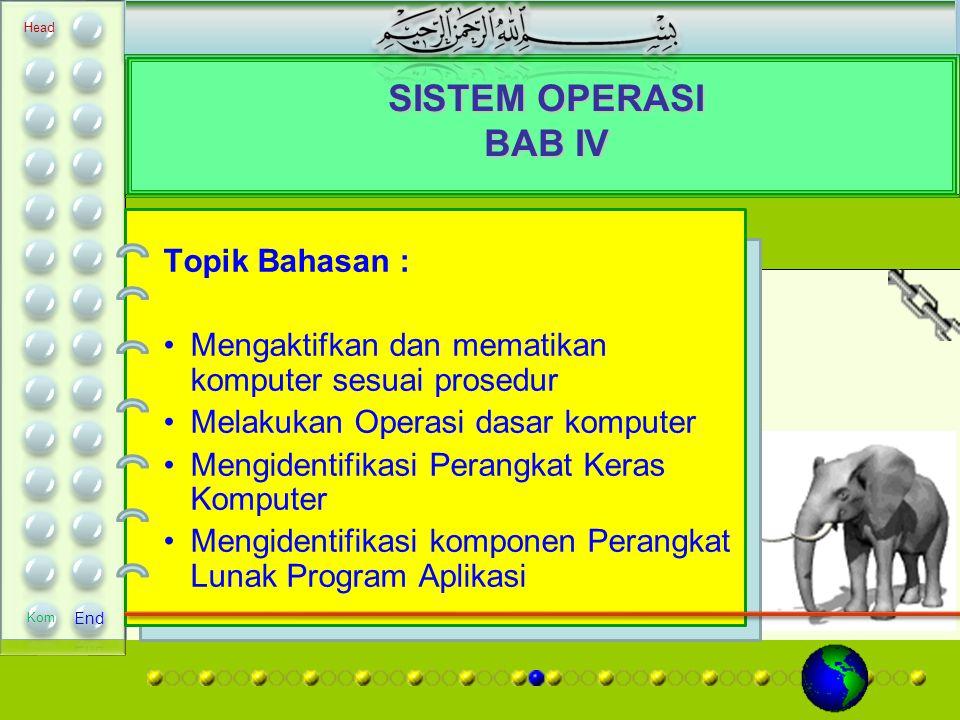 SISTEM OPERASI BAB IV Topik Bahasan :