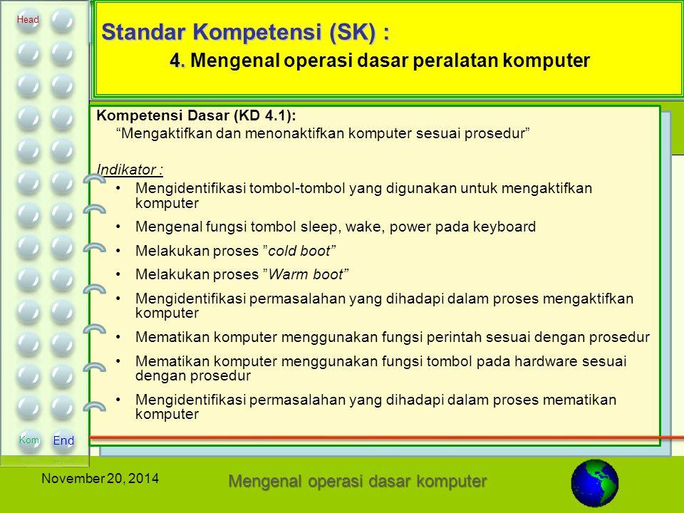 Standar Kompetensi (SK) : 4. Mengenal operasi dasar peralatan komputer