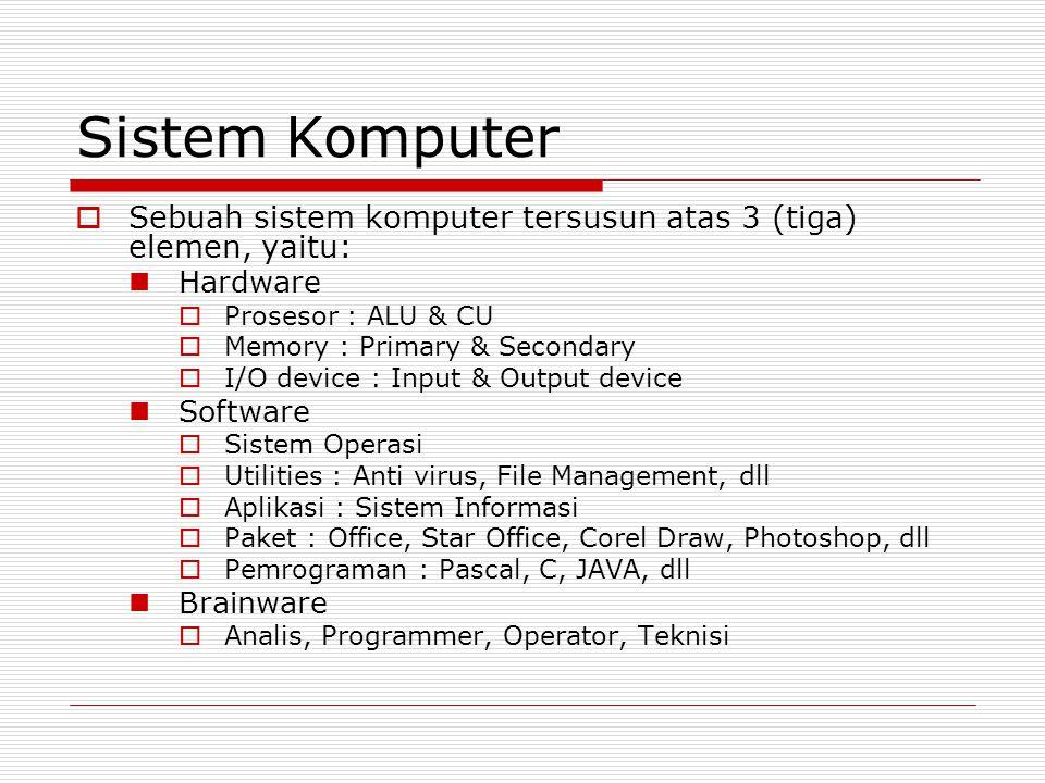 Sistem Komputer Sebuah sistem komputer tersusun atas 3 (tiga) elemen, yaitu: Hardware. Prosesor : ALU & CU.