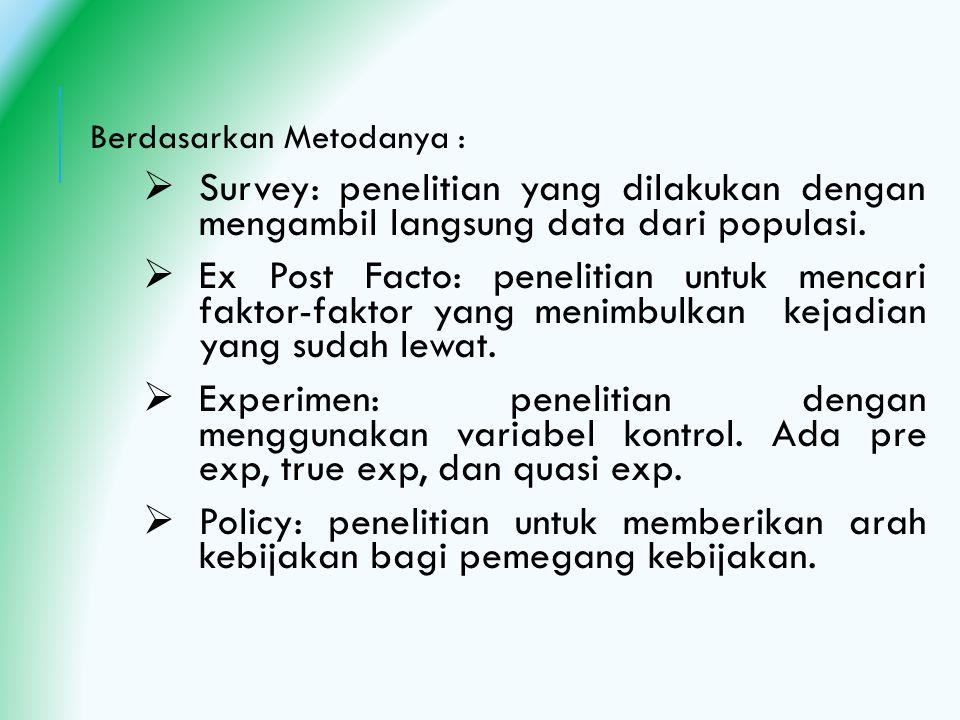 Berdasarkan Metodanya :