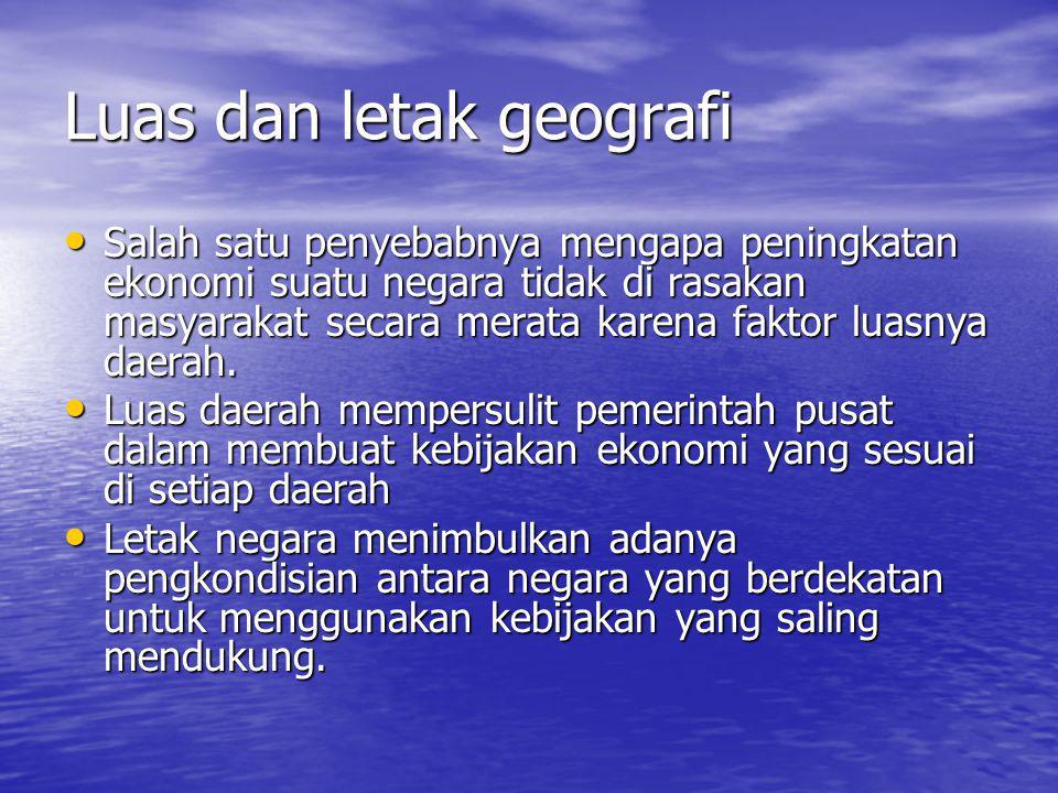 Luas dan letak geografi
