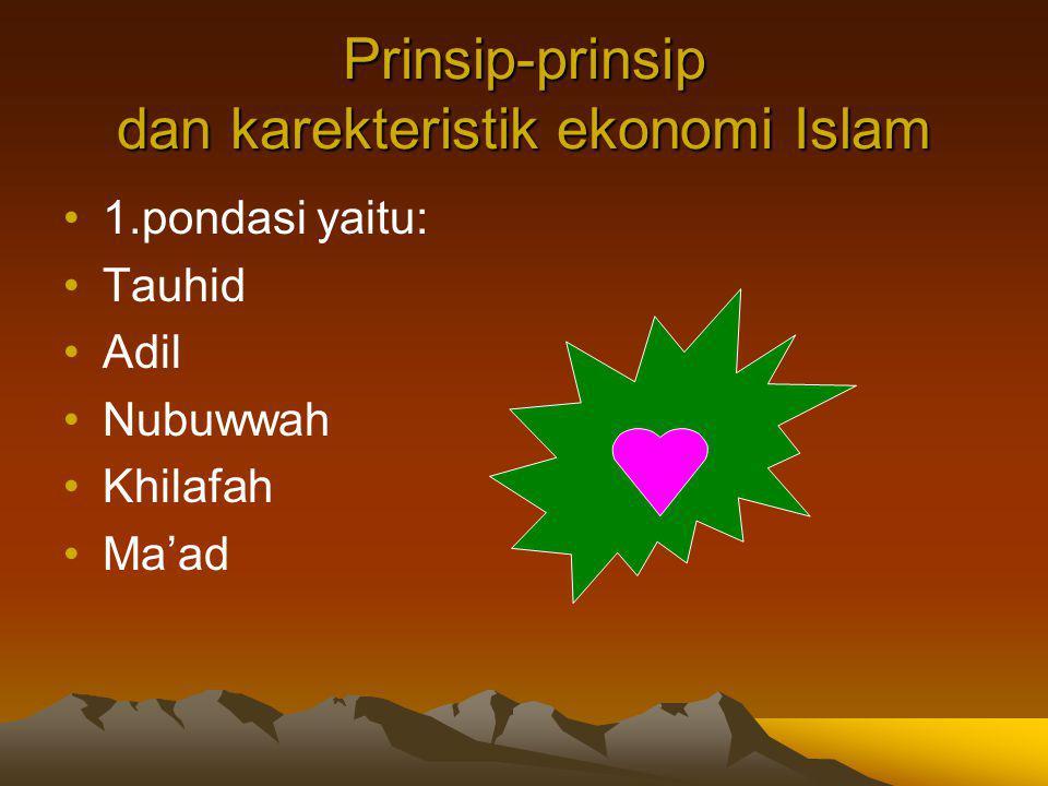Prinsip-prinsip dan karekteristik ekonomi Islam