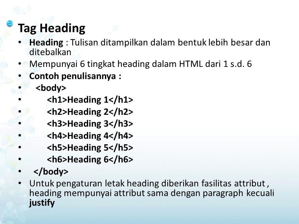 Tag Heading Heading : Tulisan ditampilkan dalam bentuk lebih besar dan ditebalkan. Mempunyai 6 tingkat heading dalam HTML dari 1 s.d. 6.