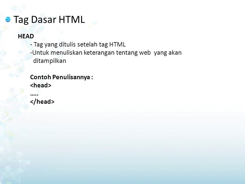 Tag Dasar HTML HEAD - Tag yang ditulis setelah tag HTML