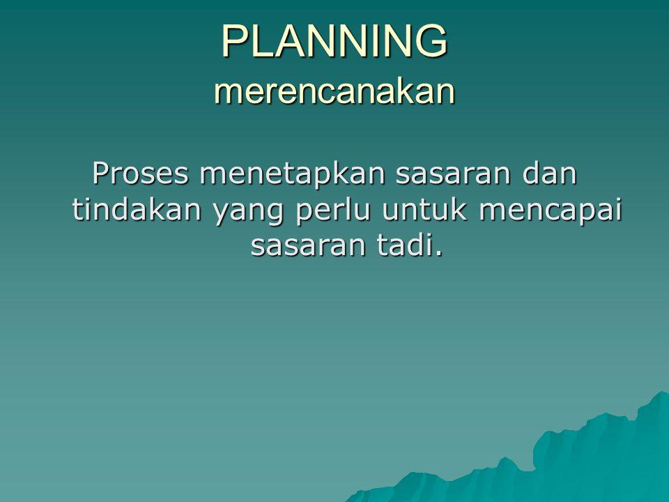 PLANNING merencanakan