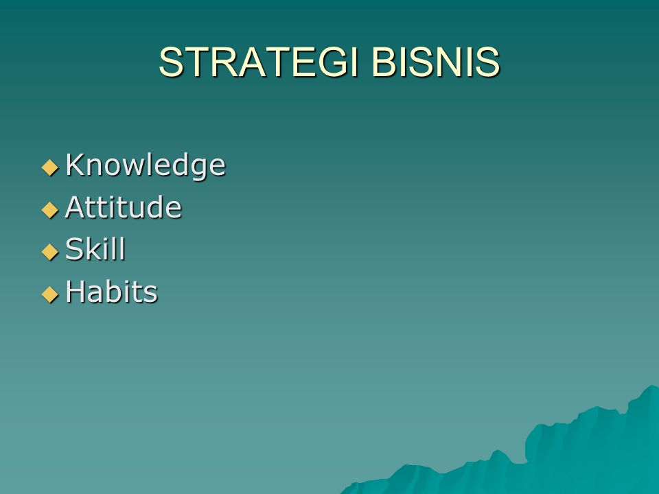 STRATEGI BISNIS Knowledge Attitude Skill Habits