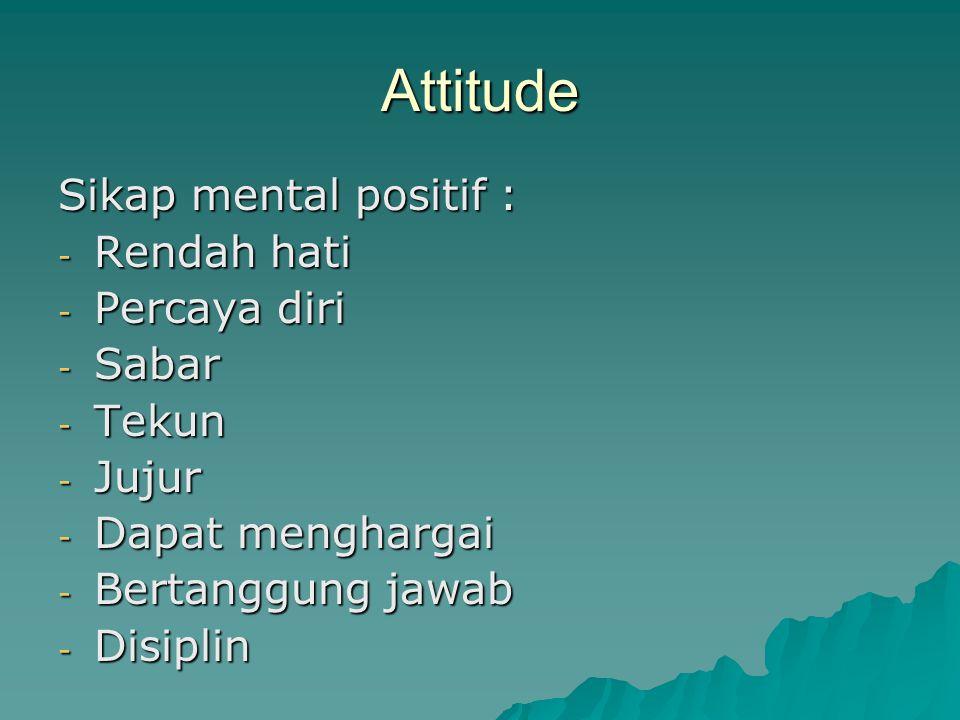 Attitude Sikap mental positif : Rendah hati Percaya diri Sabar Tekun