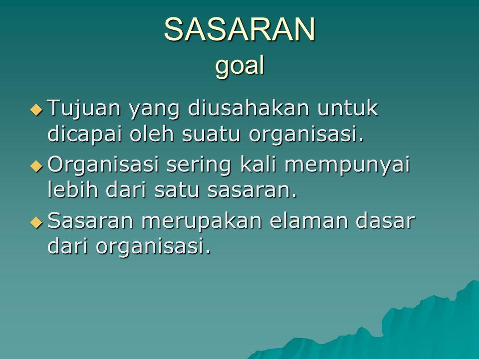 SASARAN goal Tujuan yang diusahakan untuk dicapai oleh suatu organisasi. Organisasi sering kali mempunyai lebih dari satu sasaran.
