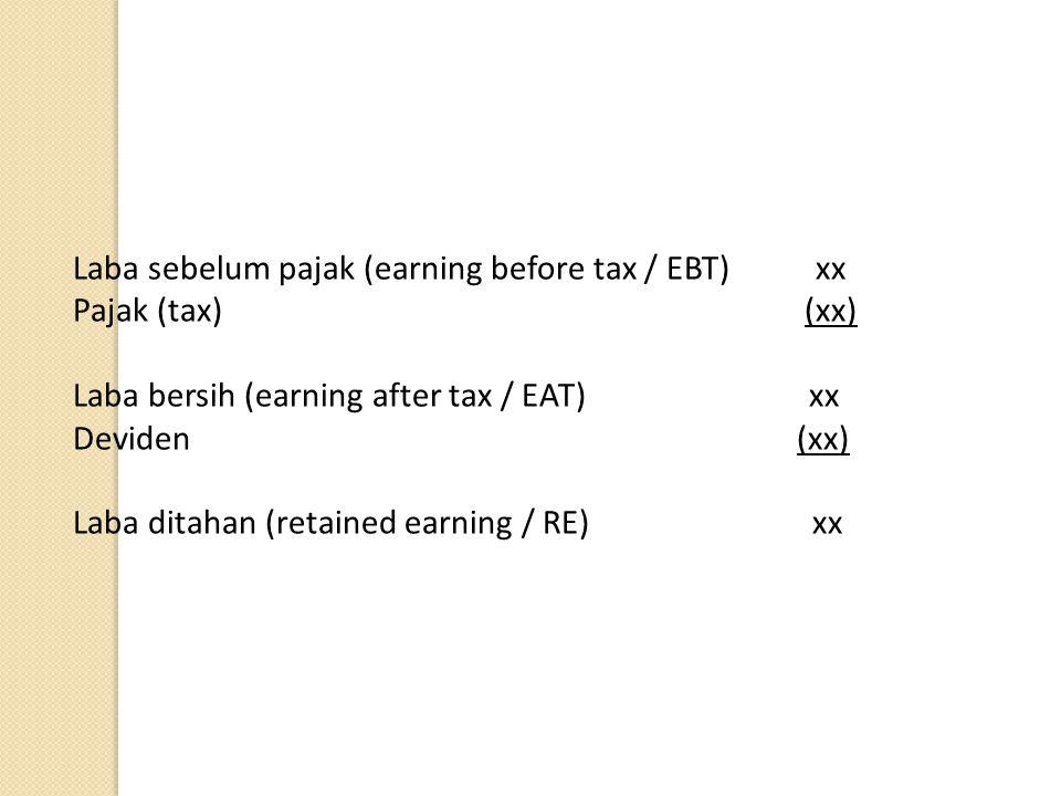 Laba sebelum pajak (earning before tax / EBT) xx