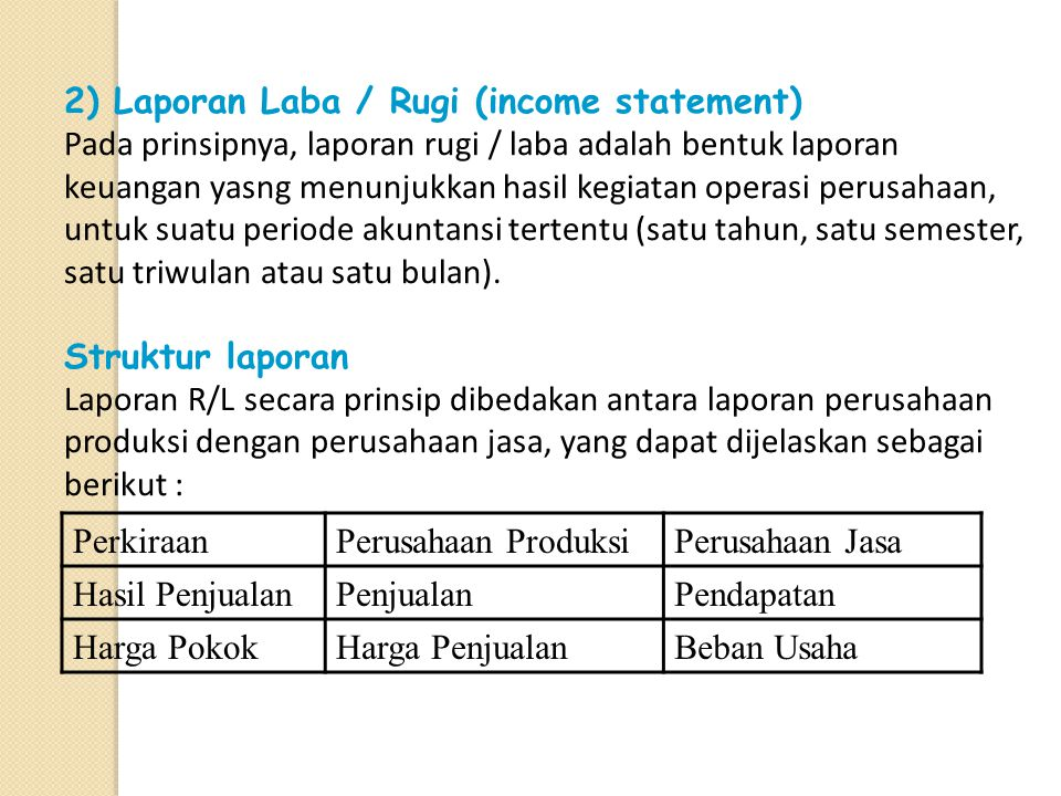 2) Laporan Laba / Rugi (income statement)
