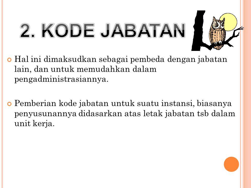 2. KODE JABATAN Hal ini dimaksudkan sebagai pembeda dengan jabatan lain, dan untuk memudahkan dalam pengadministrasiannya.