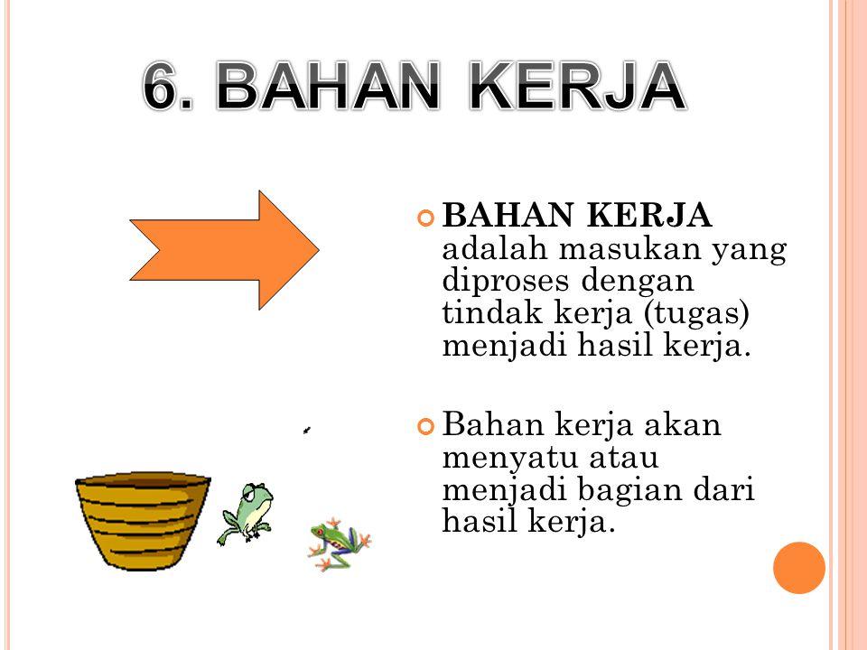 6. BAHAN KERJA BAHAN KERJA adalah masukan yang diproses dengan tindak kerja (tugas) menjadi hasil kerja.