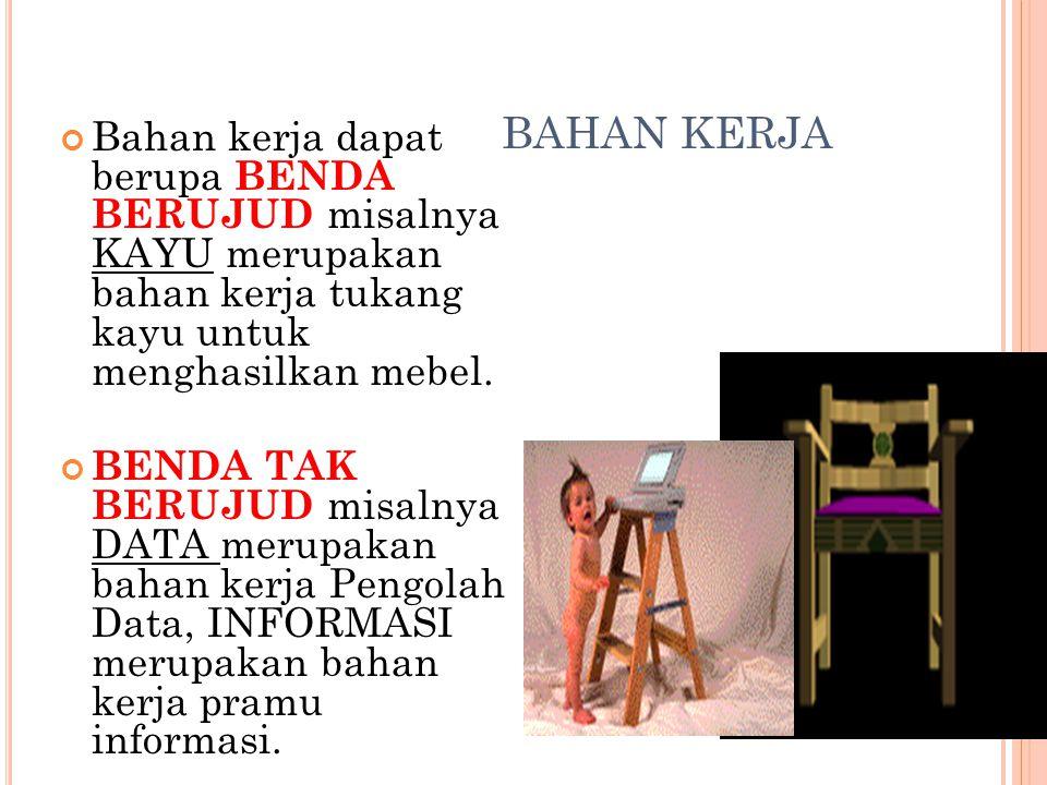 BAHAN KERJA Bahan kerja dapat berupa BENDA BERUJUD misalnya KAYU merupakan bahan kerja tukang kayu untuk menghasilkan mebel.