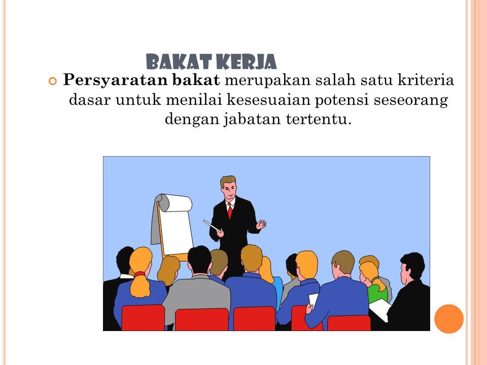 BAKAT KERJA Persyaratan bakat merupakan salah satu kriteria dasar untuk menilai kesesuaian potensi seseorang dengan jabatan tertentu.