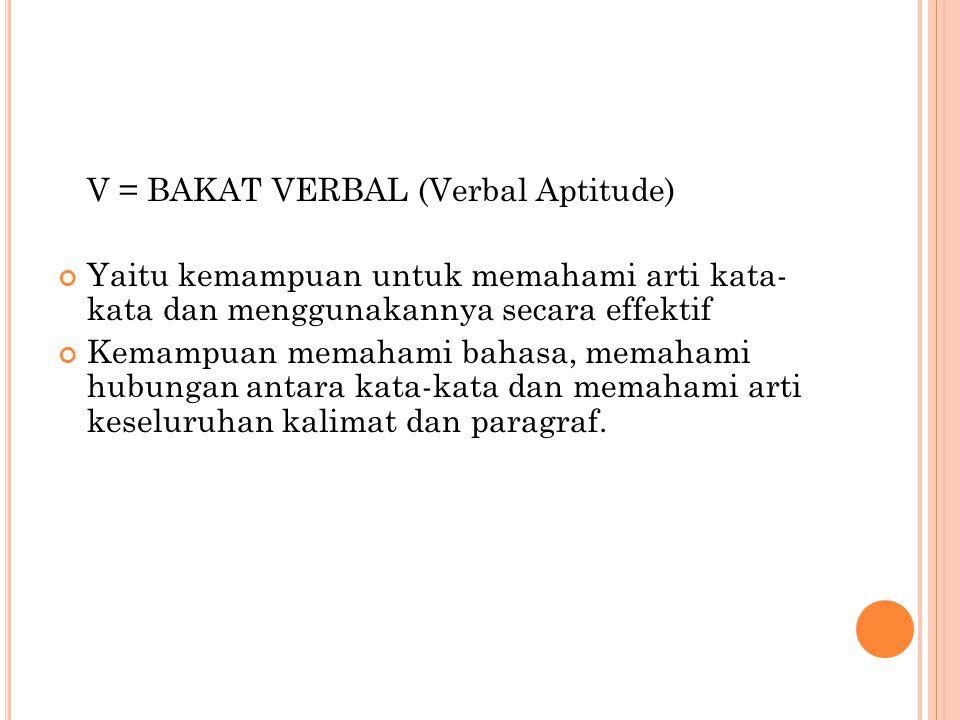 V = BAKAT VERBAL (Verbal Aptitude)