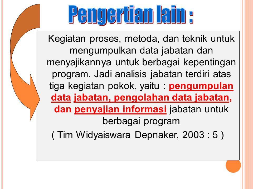 ( Tim Widyaiswara Depnaker, 2003 : 5 )