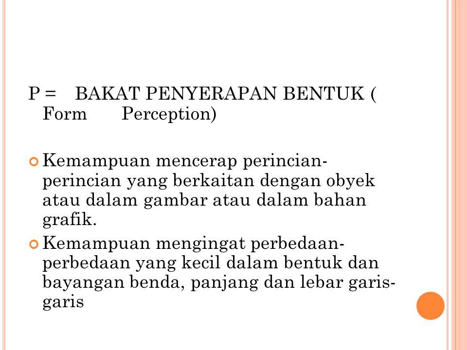 P = BAKAT PENYERAPAN BENTUK ( Form Perception)