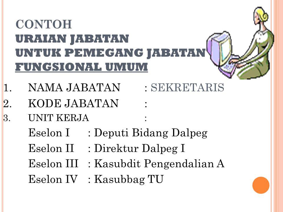 CONTOH URAIAN JABATAN UNTUK PEMEGANG JABATAN FUNGSIONAL UMUM