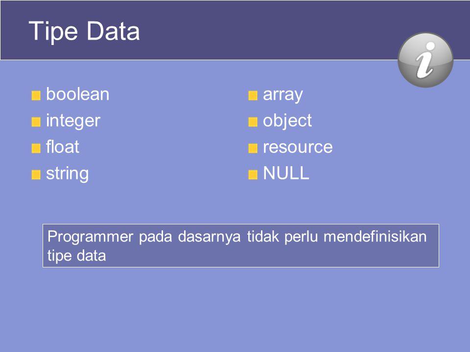 Tipe Data boolean integer float string array object resource NULL