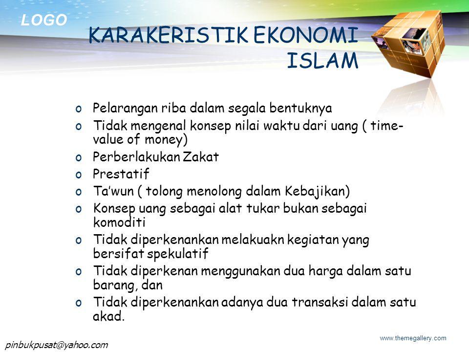 KARAKERISTIK EKONOMI ISLAM