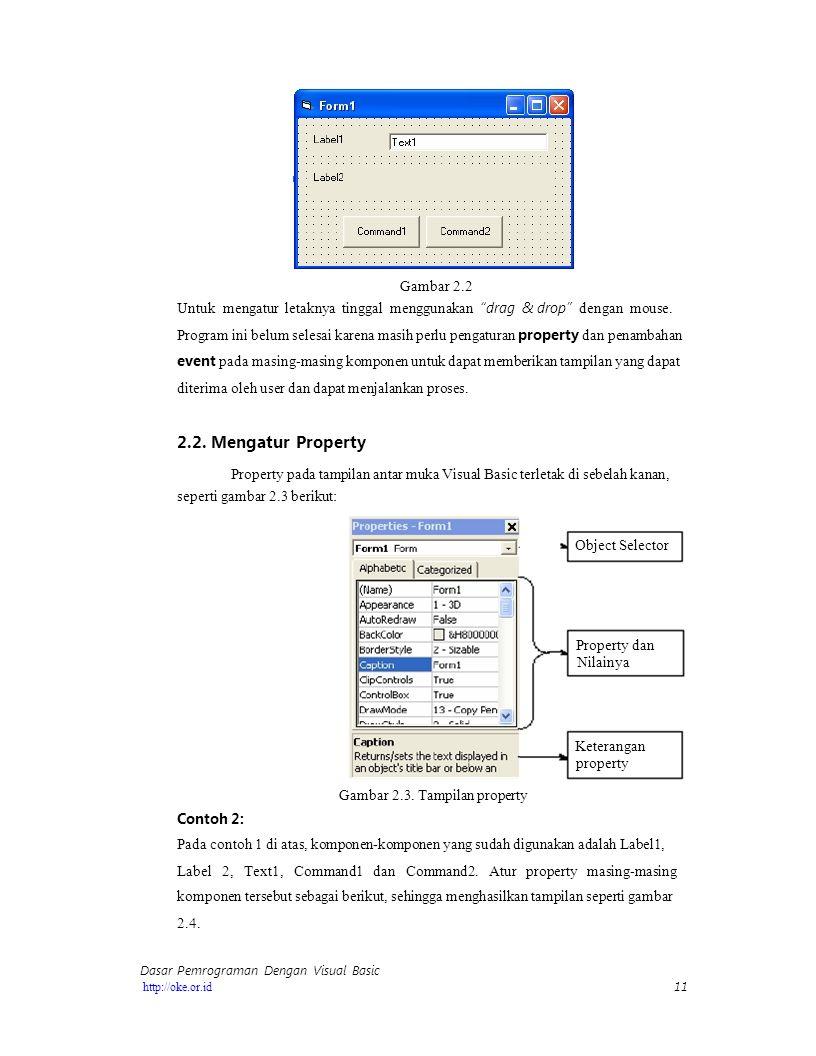 Gambar 2.2 Untuk mengatur letaknya tinggal menggunakan drag & drop dengan mouse.