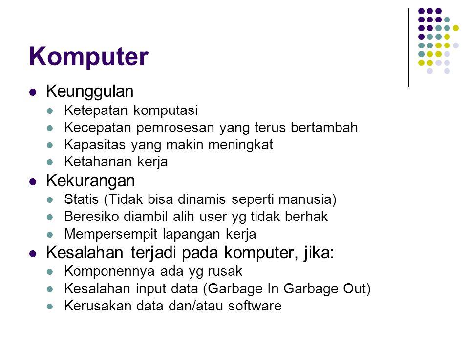 Komputer Keunggulan Kekurangan Kesalahan terjadi pada komputer, jika: