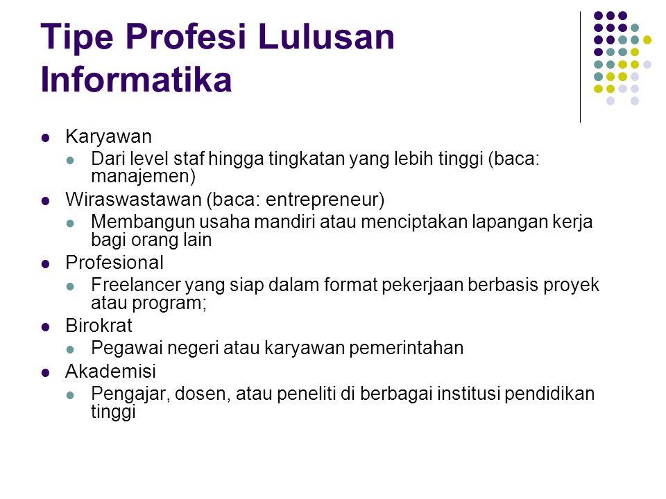 Tipe Profesi Lulusan Informatika