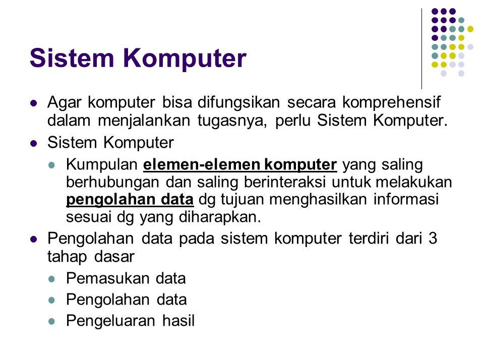 Sistem Komputer Agar komputer bisa difungsikan secara komprehensif dalam menjalankan tugasnya, perlu Sistem Komputer.