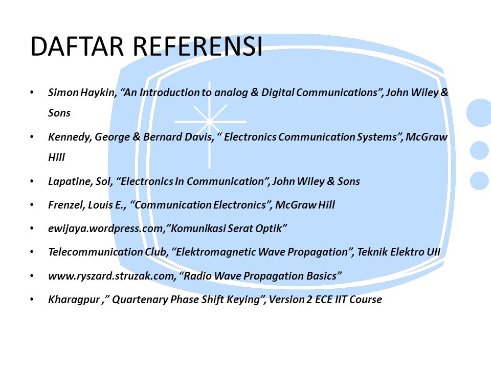 DAFTAR REFERENSI Simon Haykin, An Introduction to analog & Digital Communications , John Wiley & Sons.