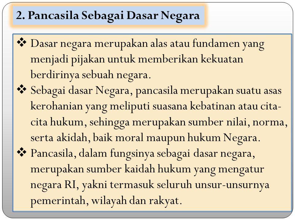 2. Pancasila Sebagai Dasar Negara