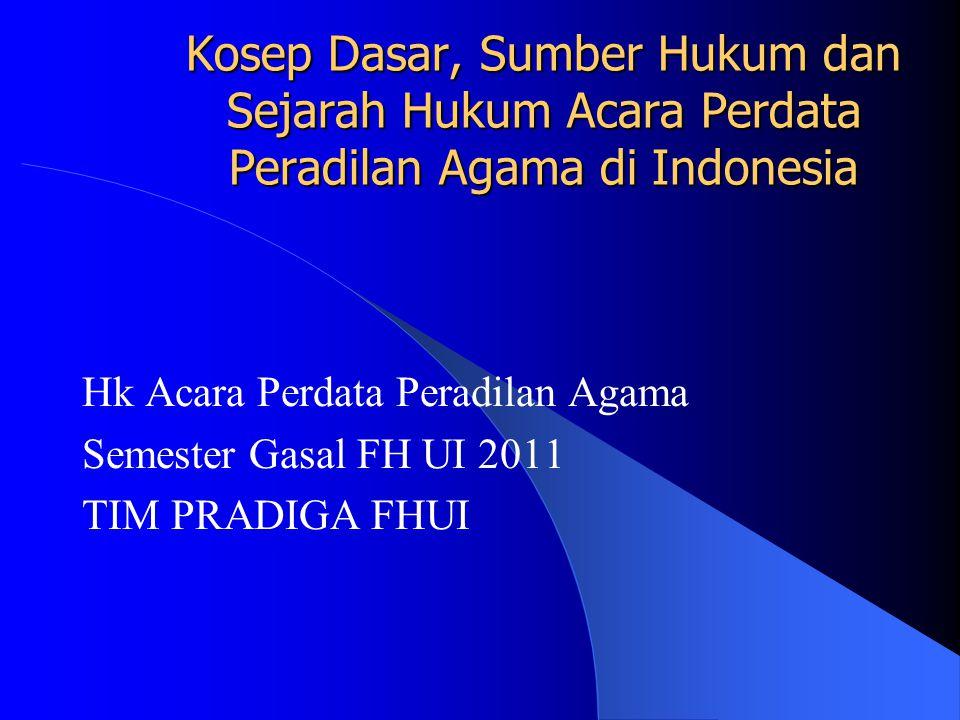 Kosep Dasar, Sumber Hukum dan Sejarah Hukum Acara Perdata Peradilan Agama di Indonesia