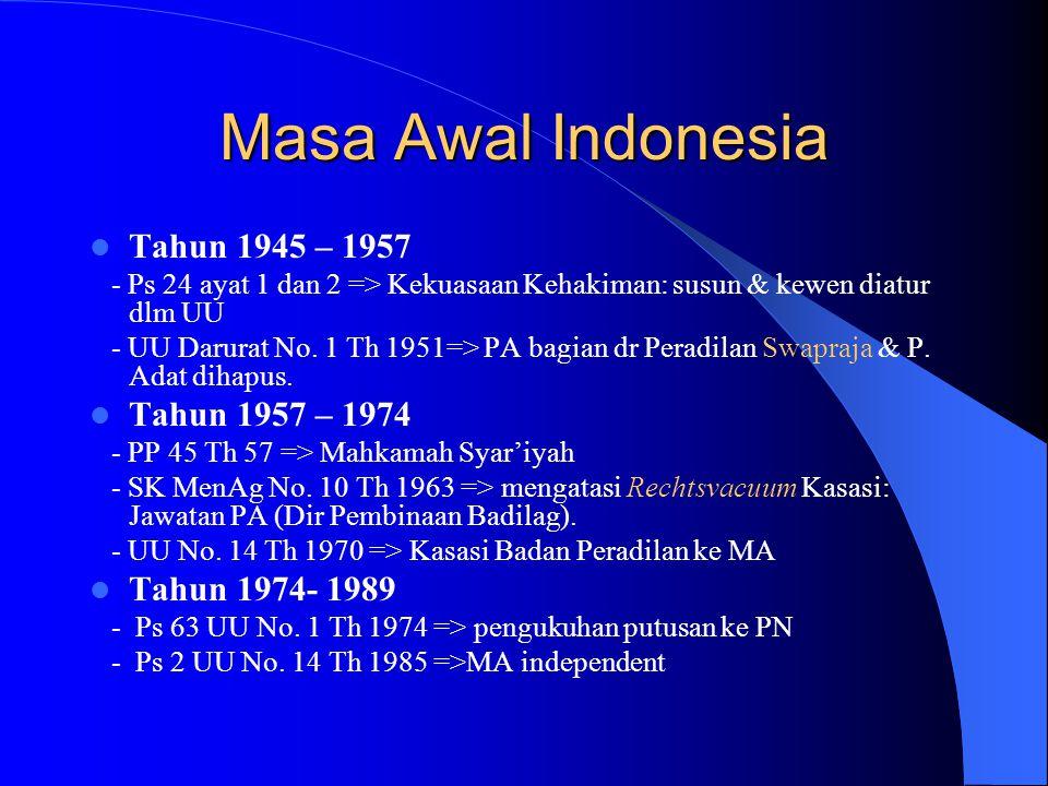 Masa Awal Indonesia Tahun 1945 – 1957 Tahun 1957 – 1974