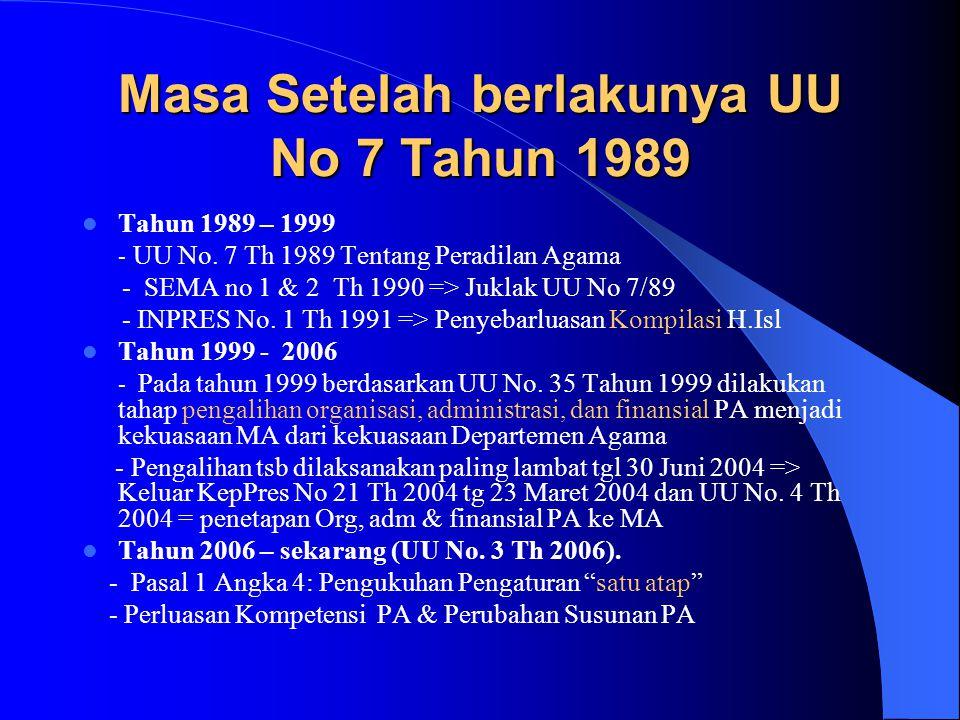Masa Setelah berlakunya UU No 7 Tahun 1989