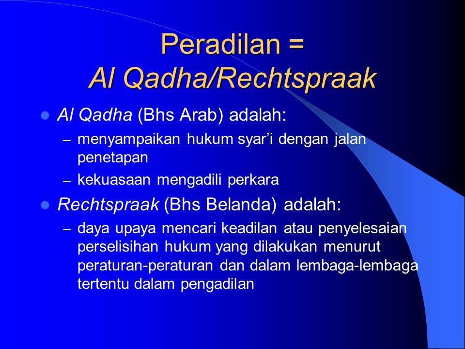 Peradilan = Al Qadha/Rechtspraak