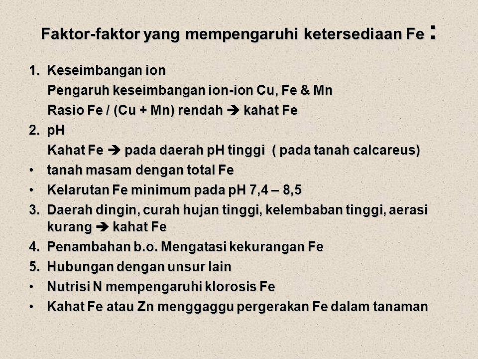 Faktor-faktor yang mempengaruhi ketersediaan Fe :