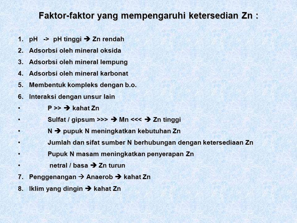 Faktor-faktor yang mempengaruhi ketersedian Zn :