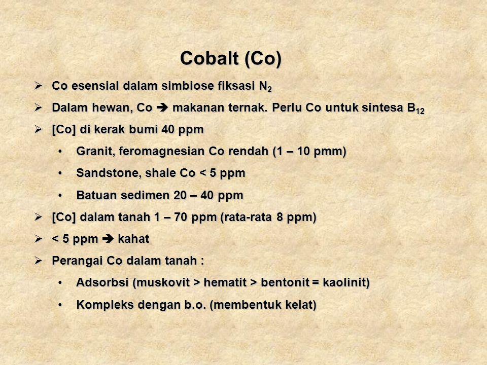 Cobalt (Co) Co esensial dalam simbiose fiksasi N2