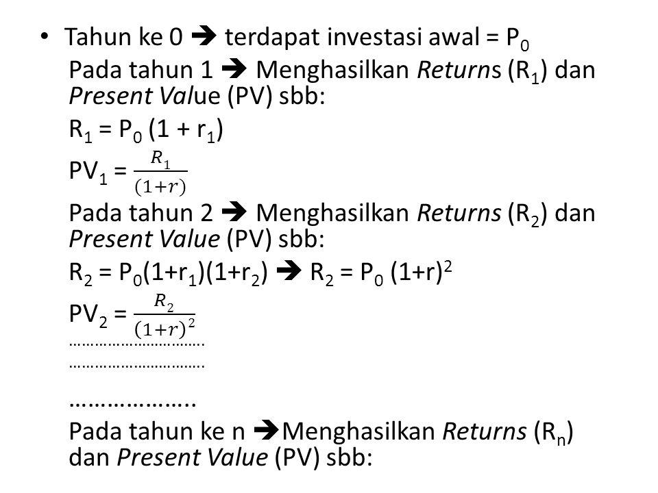 Tahun ke 0  terdapat investasi awal = P0