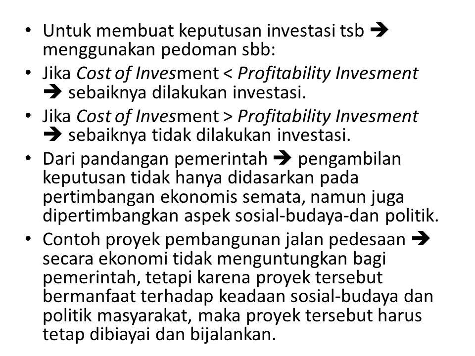 Untuk membuat keputusan investasi tsb  menggunakan pedoman sbb: