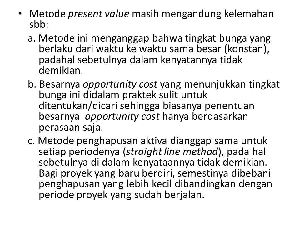 Metode present value masih mengandung kelemahan sbb: