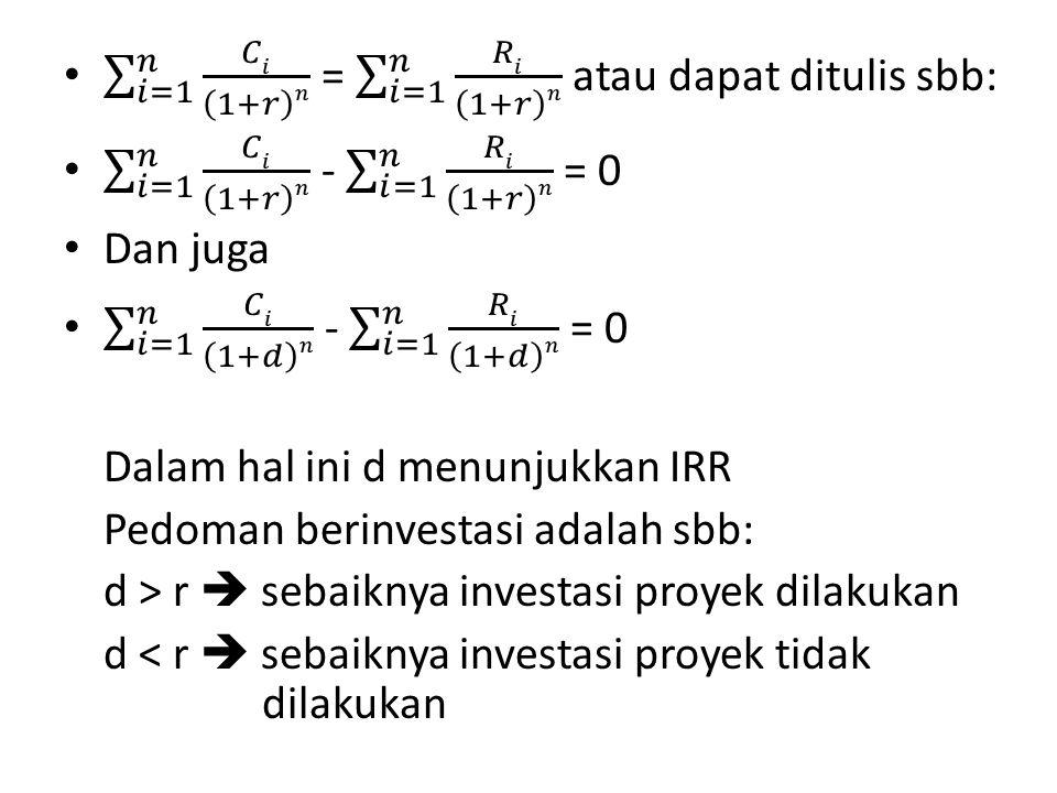 𝑖=1 𝑛 𝐶𝑖 1+𝑟 𝑛 = 𝑖=1 𝑛 𝑅𝑖 1+𝑟 𝑛 atau dapat ditulis sbb: