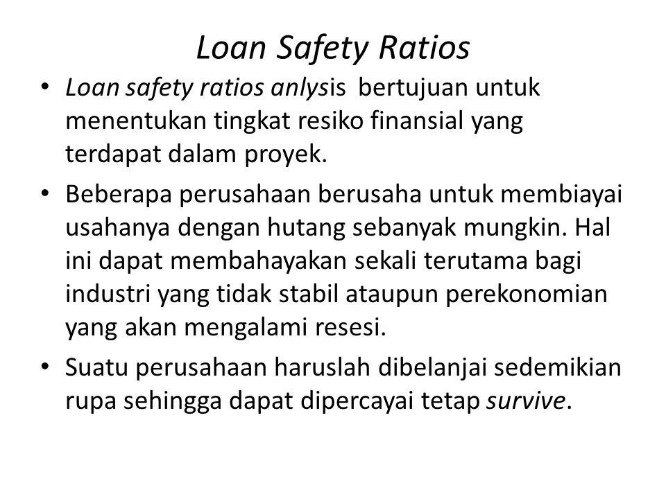Loan Safety Ratios Loan safety ratios anlysis bertujuan untuk menentukan tingkat resiko finansial yang terdapat dalam proyek.