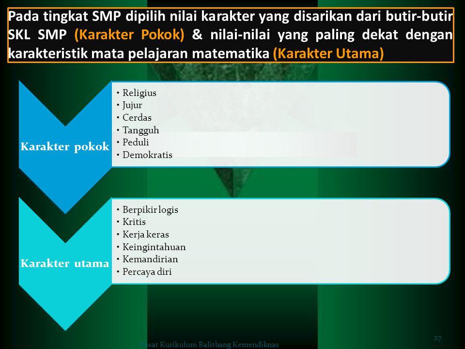 Pada tingkat SMP dipilih nilai karakter yang disarikan dari butir-butir SKL SMP (Karakter Pokok) & nilai-nilai yang paling dekat dengan karakteristik mata pelajaran matematika (Karakter Utama)