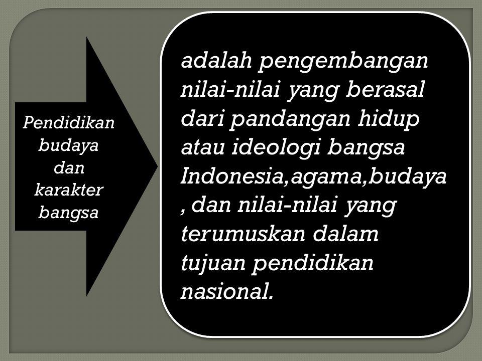Pendidikan budaya dan karakter bangsa