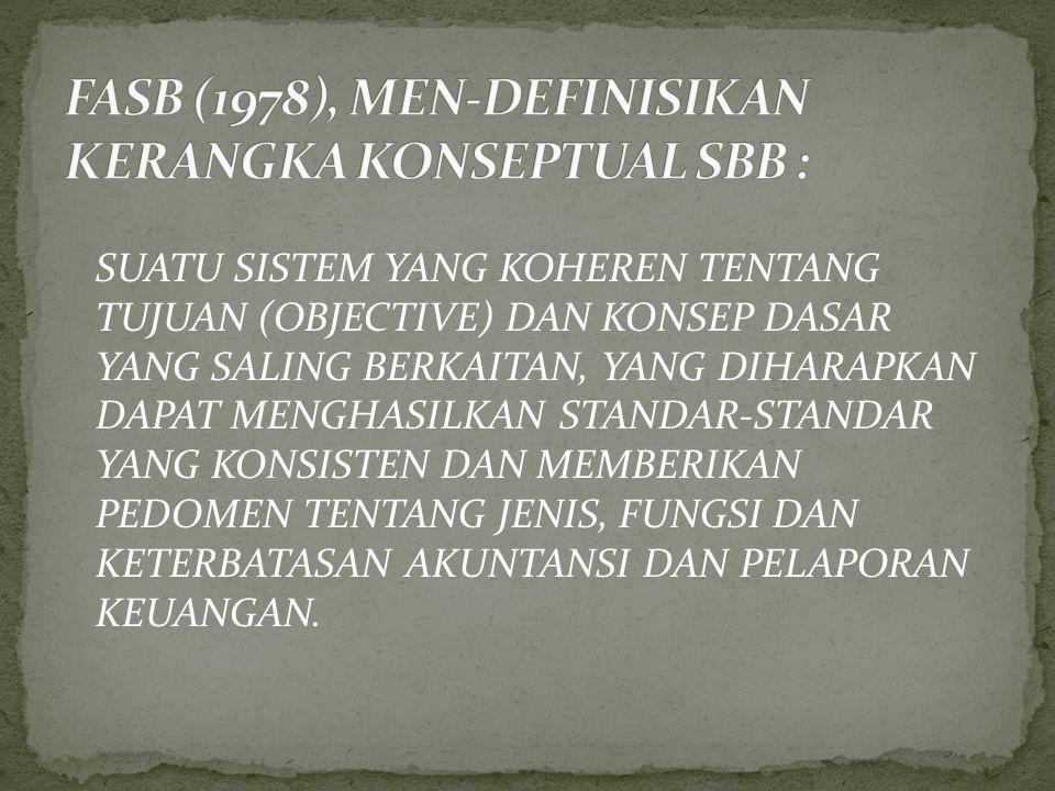 FASB (1978), MEN-DEFINISIKAN KERANGKA KONSEPTUAL SBB :