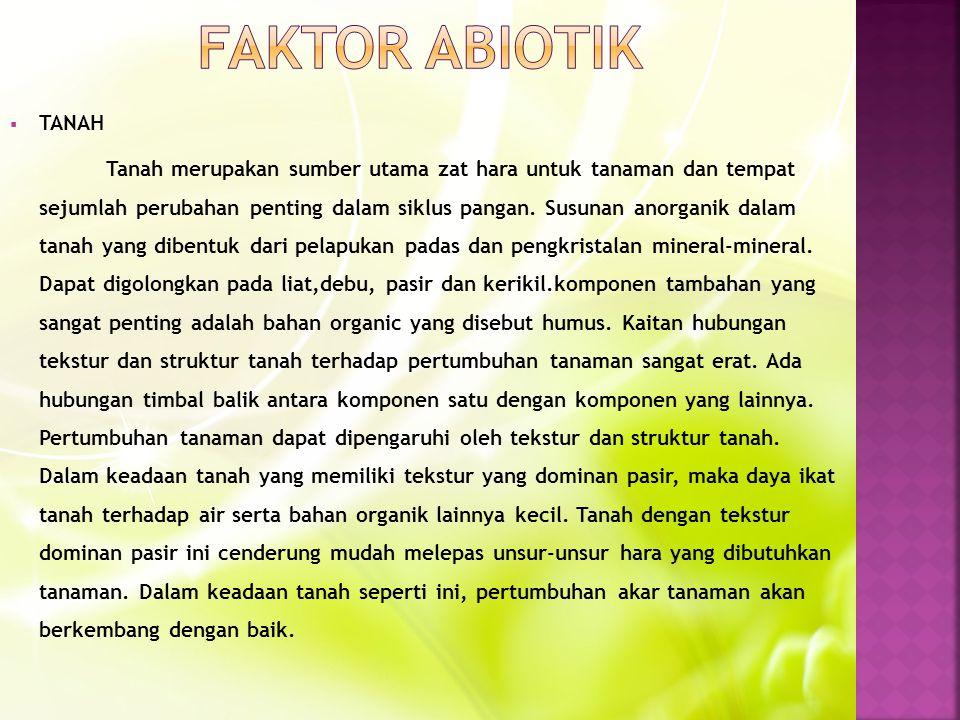 FAKTOR ABIOTIK TANAH.