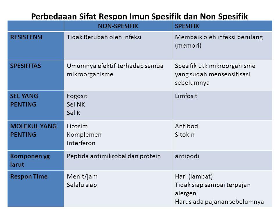Perbedaaan Sifat Respon Imun Spesifik dan Non Spesifik