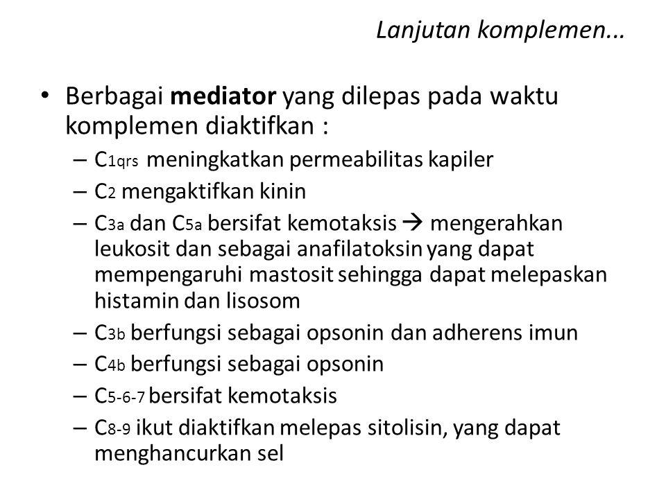 Berbagai mediator yang dilepas pada waktu komplemen diaktifkan :