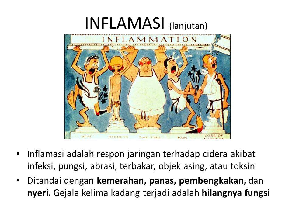 INFLAMASI (lanjutan) Inflamasi adalah respon jaringan terhadap cidera akibat infeksi, pungsi, abrasi, terbakar, objek asing, atau toksin.